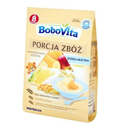 Porcja Zboz milk 3 fruit porridge Bobovita 210g