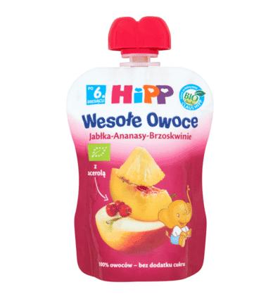 Mus Wesołe Owoce jabłka-ananasy-brzoskwinie Hipp 90g